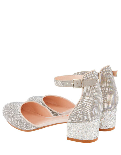 Diamante Two-Part Heeled Shoes, Silver (SILVER), large