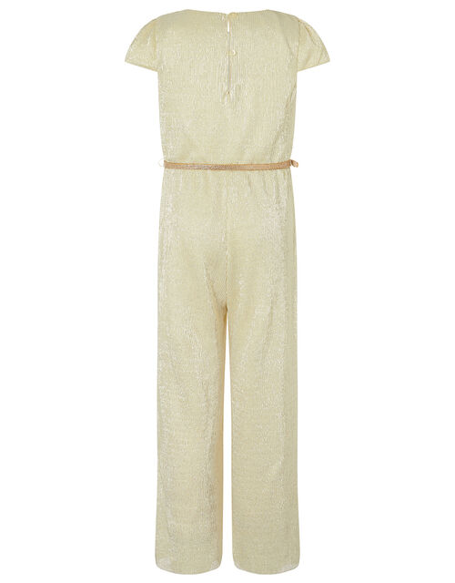 Shimmer Wide Leg Jumpsuit with Belt, Gold (GOLD), large