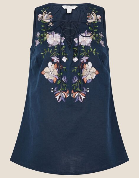 Floral Embroidered Sleeveless Top Blue, Blue (NAVY), large
