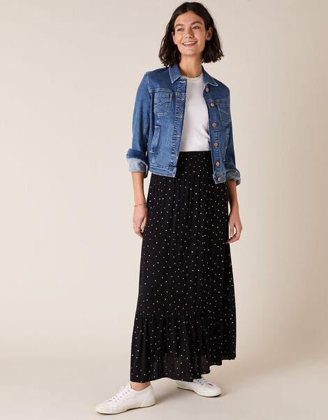 Foil Print Maxi Skirt in Sustainable Viscose Black, Black (BLACK), large