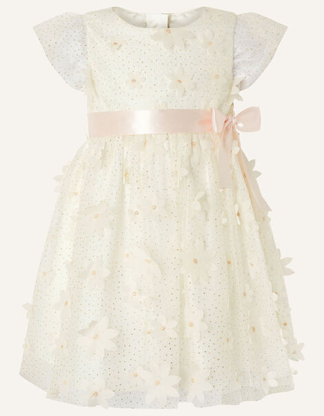 Baby Sweet Petal Flower Dress Ivory, Ivory (IVORY), large