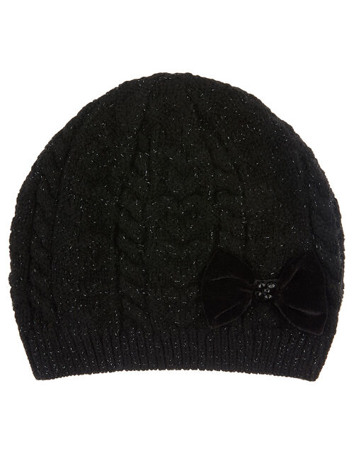 Stella Sparkle Bow Beanie Hat, Black (BLACK), large
