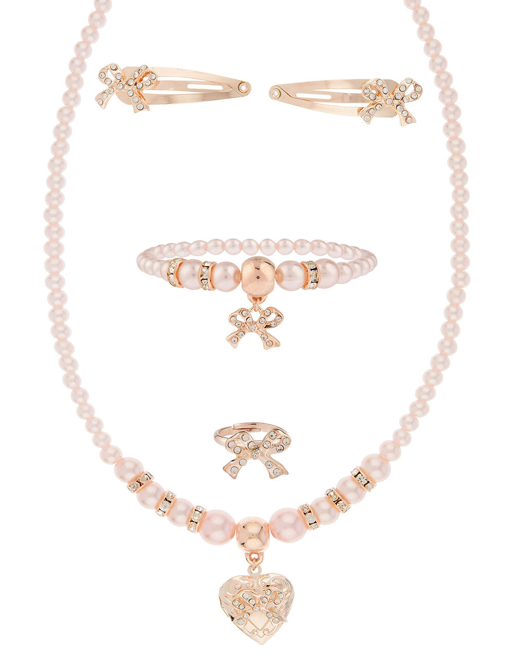 Pearly Heart Locket Accessory Set, , large