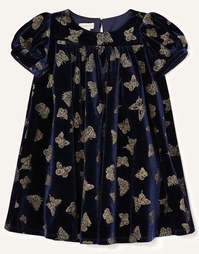 Baby Glitter Butterfly Velvet Dress Blue, Blue (NAVY), large