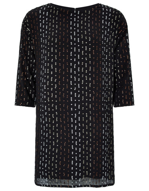 Yara Sequin Dolman Sleeve Tunic Dress, Black, large