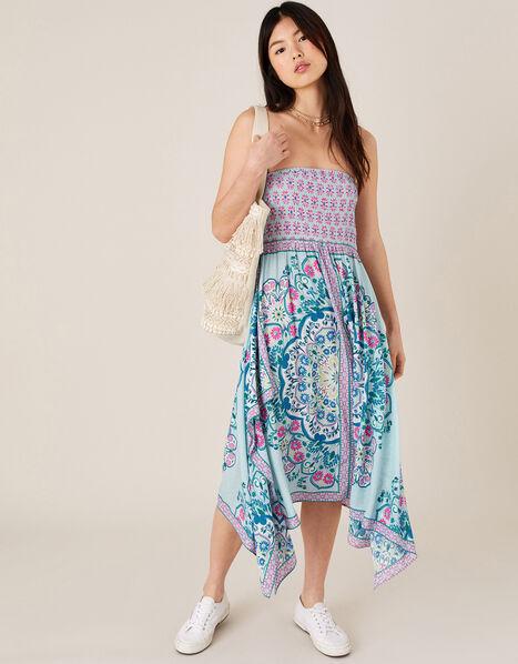 Scarf Print Hanky Hem Dress in LENZING™ ECOVERO™ Blue, Blue (BLUE), large