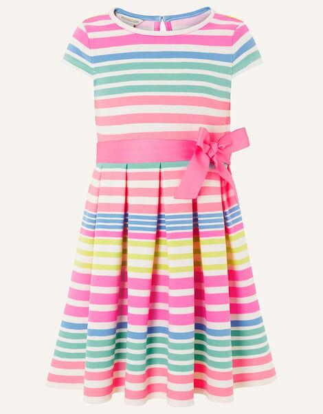 Stripe Pleated Ponte Dress Multi, Multi (MULTI), large