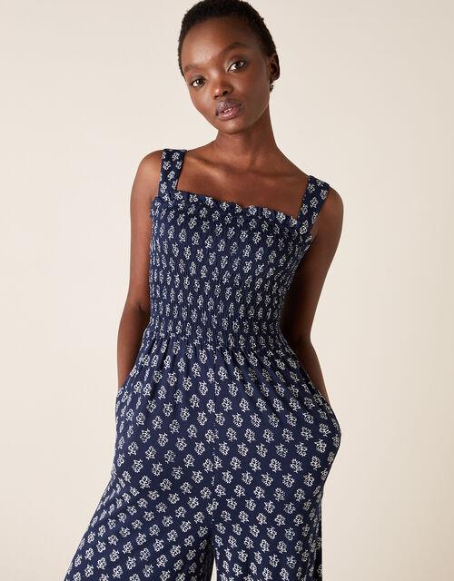 Printed Jumpsuit, Blue (NAVY), large