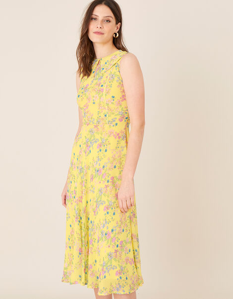 Sylvie Printed Midi Dress Yellow, Yellow (YELLOW), large