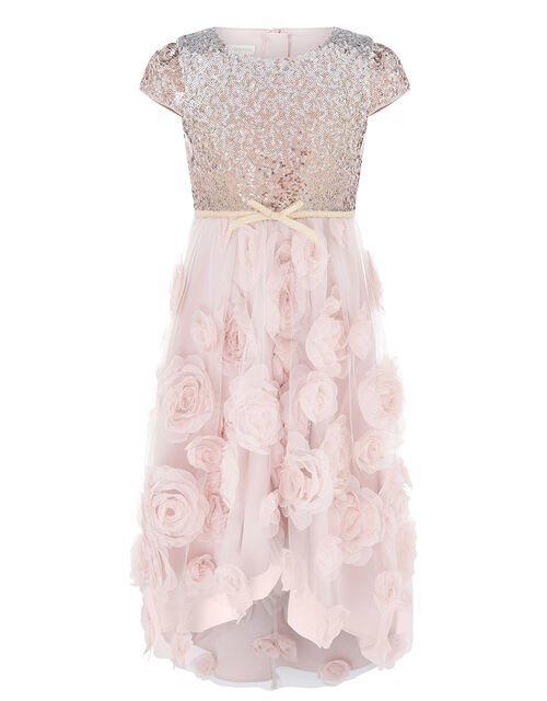 Sequin 3D Rose Hi-Low Dress, , large