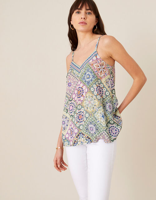 Printed Cami Top in LENZING™ ECOVERO™, Green (GREEN), large