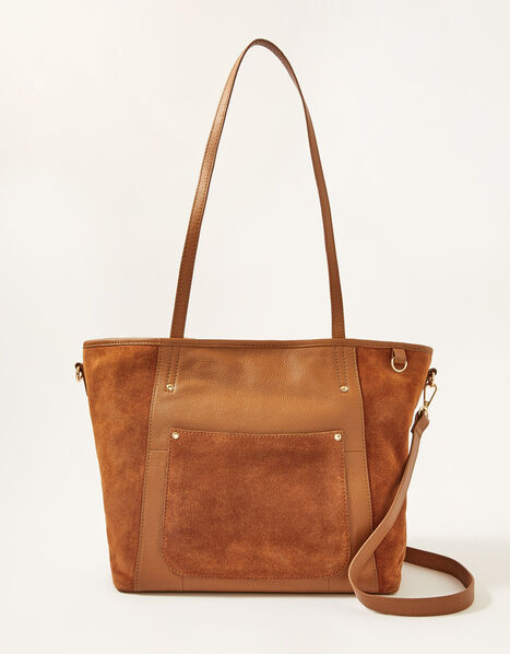 Mixed Material Large Leather Tote Bag , , large