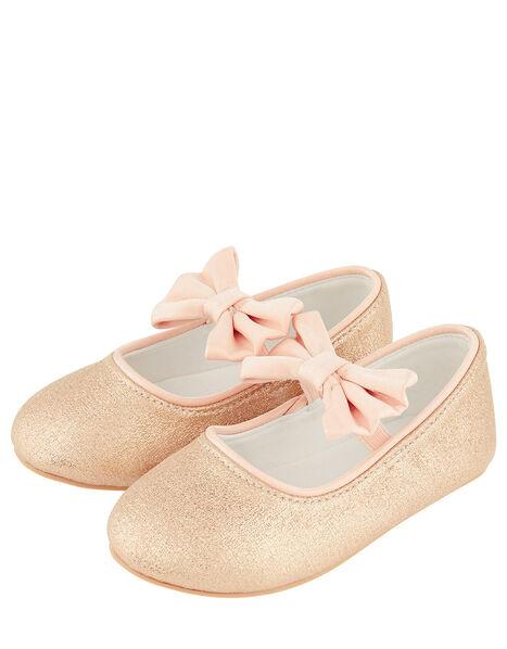 Baby Samira Gold Bow Walker Shoes Gold, Gold (GOLD), large
