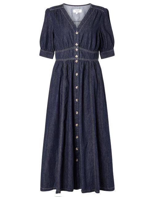 Dolly Denim Dress in Organic Cotton, Blue (INDIGO), large