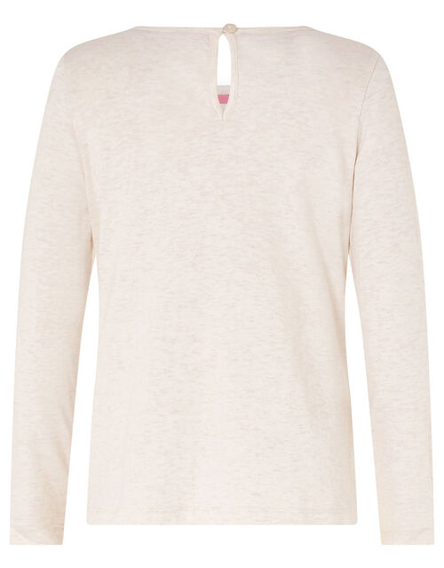 Butterfly Badge Top in Organic Cotton, Camel (OATMEAL), large
