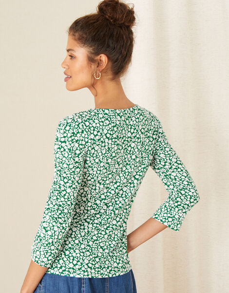 Mona Ditsy Floral Jersey Top Green, Green (GREEN), large