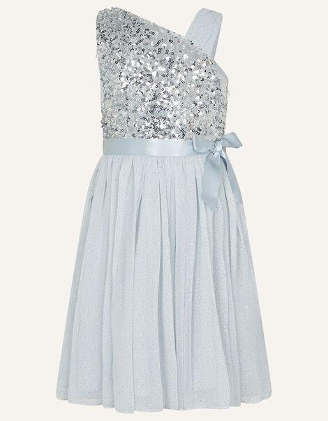 One-Shoulder Sequin Dress  Silver, Silver (SILVER), large