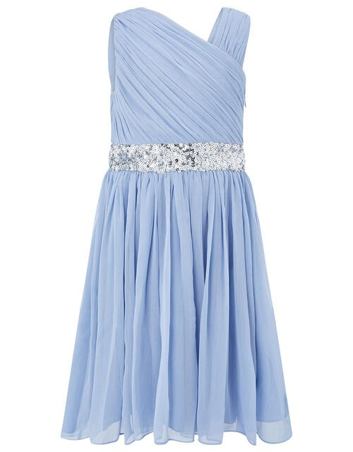 One-Shoulder Sequin Dress, Blue (PALE BLUE), large