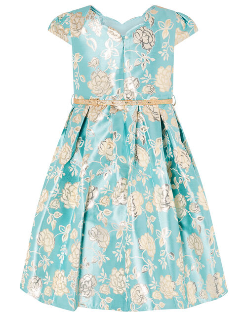 Rose Jacquard Dress, Blue (AQUA), large
