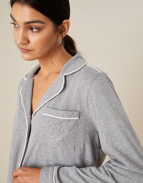 Plain Jersey Button Pyjama Shirt, Grey (GREY), large