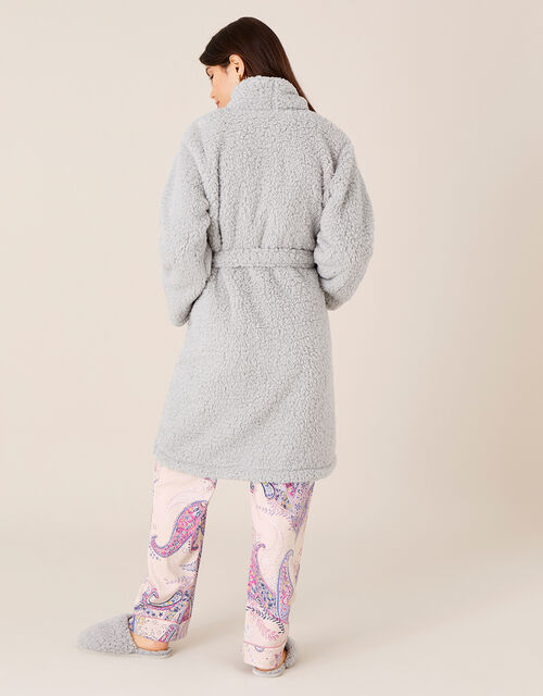 LOUNGE Fluffy Dressing Gown, Grey (GREY), large