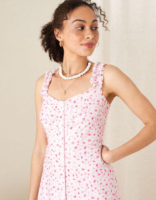 Printed Jersey Midi Dress, Ivory (IVORY), large