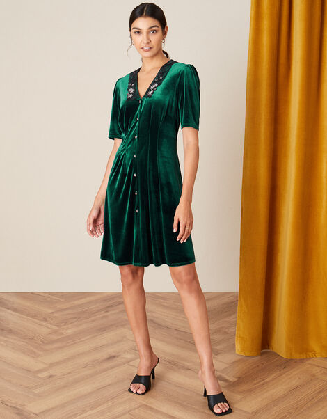 Connie Embellished Stretch Velvet Collar Dress Green, Green (GREEN), large