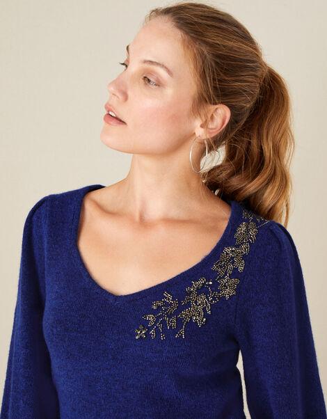 Embellished Blouson Sleeve Jumper Blue, Blue (COBALT), large