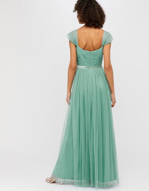 Jennifer Ruched Mesh Maxi Dress, Green, large