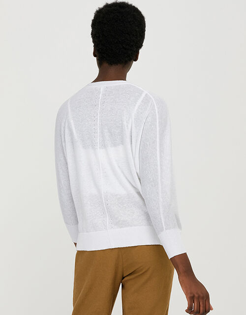 Ellie Lightweight Knitted Cardigan in Linen Blend, White (WHITE), large