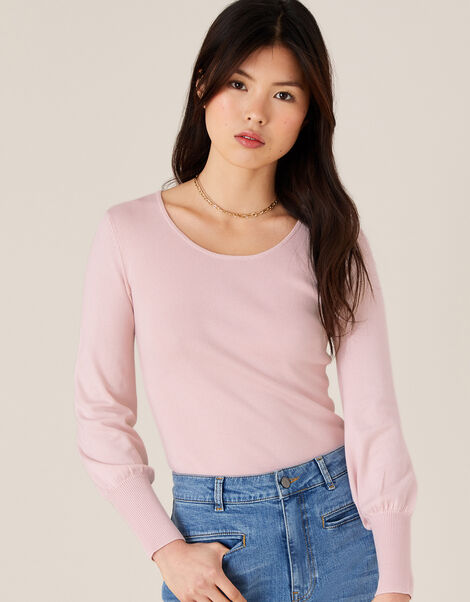 Sara Scoop Neck Knit Jumper Pink, Pink (BLUSH), large