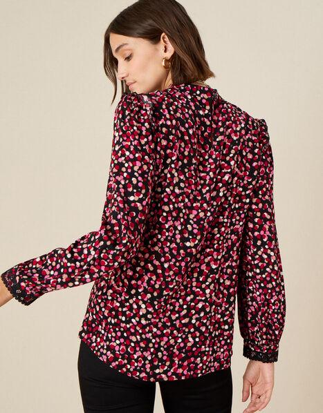 Spot Print Lace Trim Long Sleeve Top Pink, Pink (PINK), large