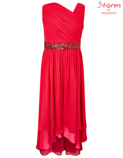 Abigail Sequin One-Shoulder Prom Dress, Red (RED), large