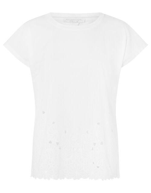Kumar Floral Hem T-shirt in Organic Cotton, White (WHITE), large