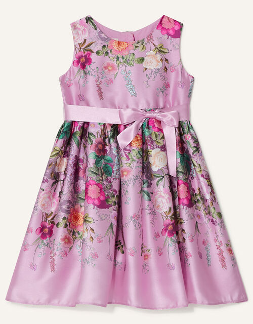 Baby Floral Print Satin Dress, Pink (PINK), large