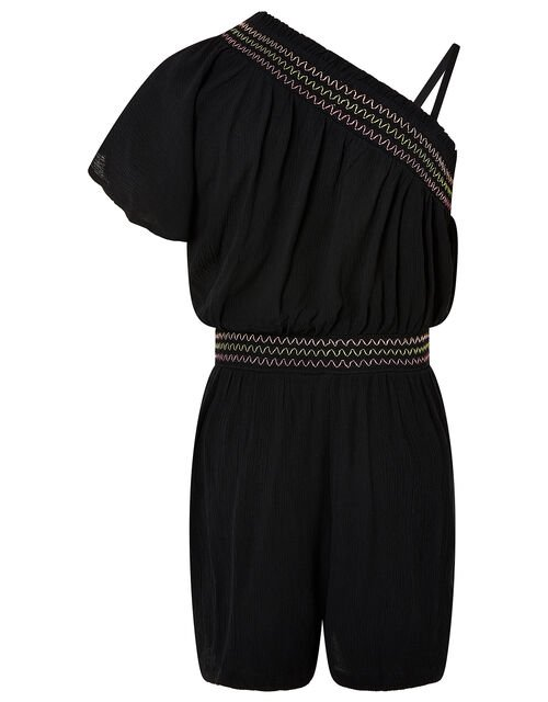 One-Shoulder Playsuit in Recycled Viscose, Black (BLACK), large