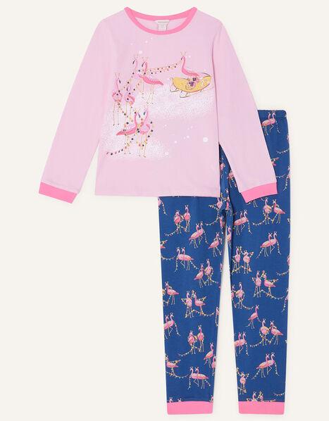 Festive Flamingo Pyjama Set Pink, Pink (PINK), large