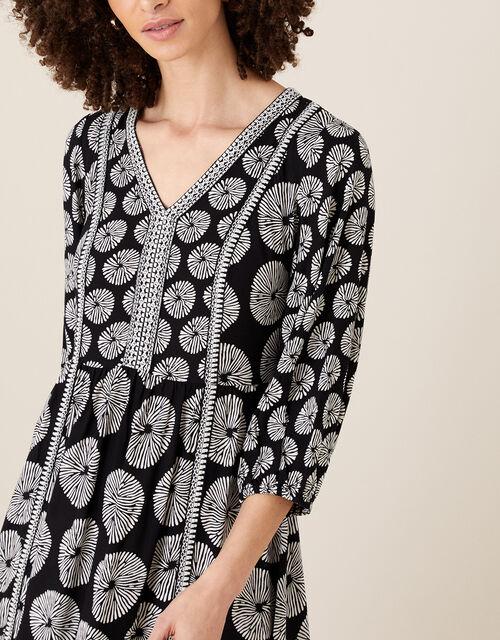 Ella Circle Print Midi Dress, Black (BLACK), large