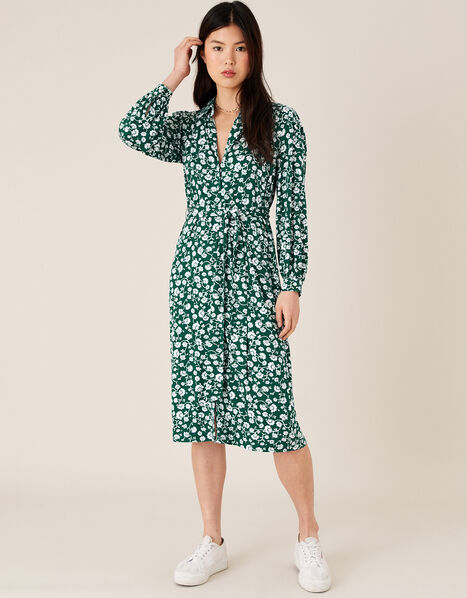 Leigh Floral Print Shirt Dress with LENZING™ ECOVERO™ Green, Green (GREEN), large