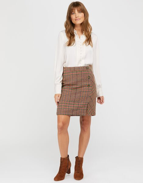 Patsy Check Skirt Brown, Brown (BROWN), large