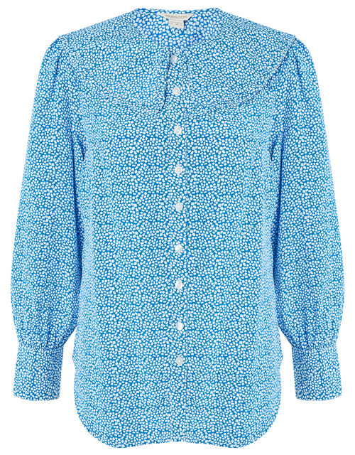 Printed Wide Collar Blouse, Blue (BLUE), large