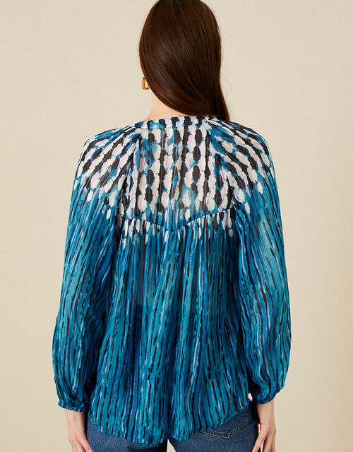 Feather Print Embellished Top, Blue (BLUE), large