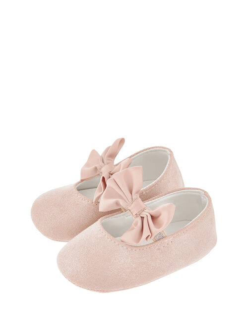 Baby Lottie Satin Bow Bootie Shoes, Pink (PINK), large