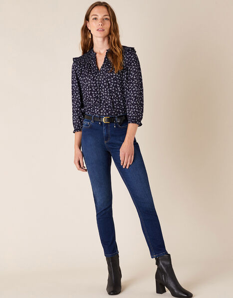 Sophie Straight Leg Jeans with Organic Cotton Blue, Blue (DENIM BLUE), large