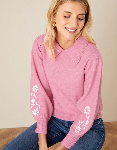 Eloise Floral Collared Jumper Pink, Pink (PINK), large