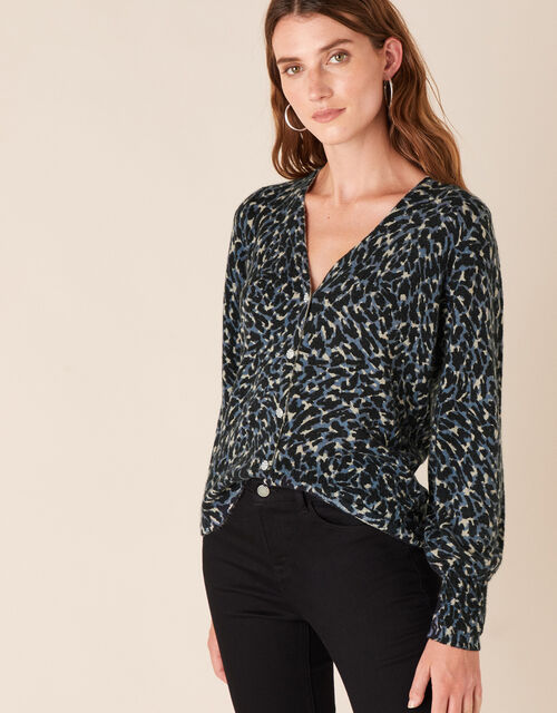 Leopard Sparkle Button Knit Cardigan, Multi (MULTI), large