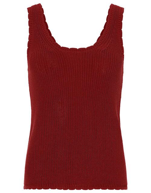 Shona Scallop Trim Vest, Rust, large