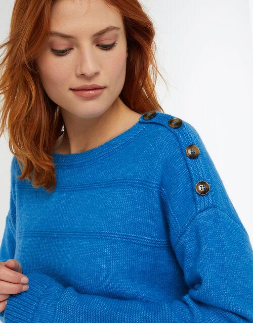 Brooke Button Shoulder Jumper, Blue, large