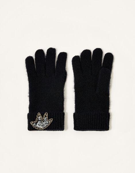 Embellished Cuff Knit Gloves, , large