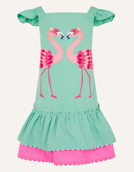 Flamingo Applique Dress  Green, Green (GREEN), large
